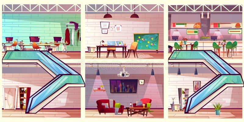 Vector de trabajo moderno de la historieta de los interiores de la oficina del co libre illustration