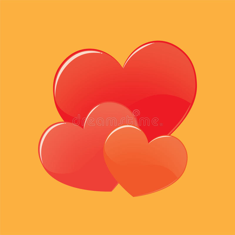 Vector de tres corazones imágenes de archivo libres de regalías