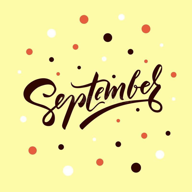 Vector de typografieillustratie van september voor groetkaart, kalender, tijdschrift, uitnodiging, banner, affiche De herfst graf stock illustratie