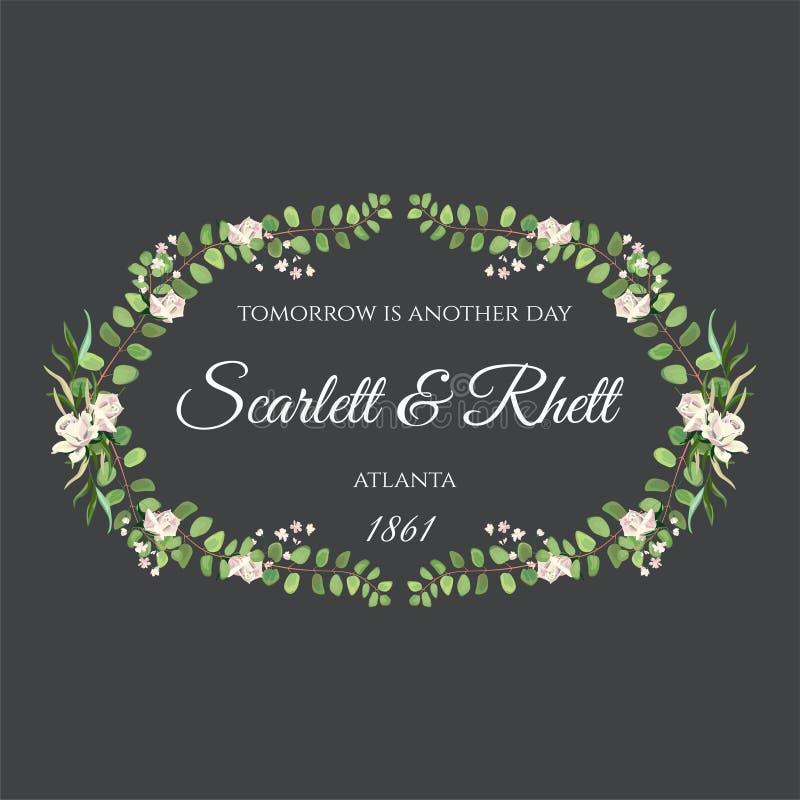 Vector de Uitnodigingskaart van het Rozenhuwelijk voor Ontwerp 01 royalty-vrije stock afbeelding