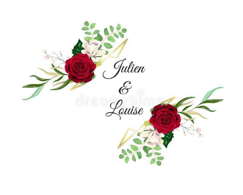 Vector de Uitnodigingskaart van het Rozenhuwelijk voor Ontwerp 01 stock afbeeldingen