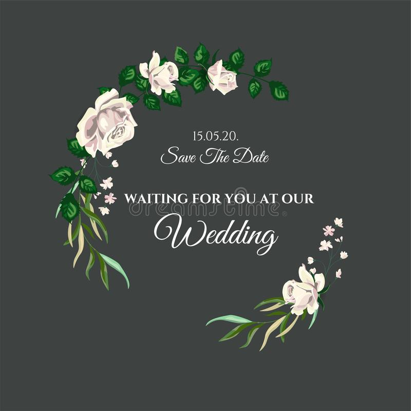 Vector de Uitnodigingskaart van het Rozenhuwelijk voor Ontwerp 01 stock afbeelding