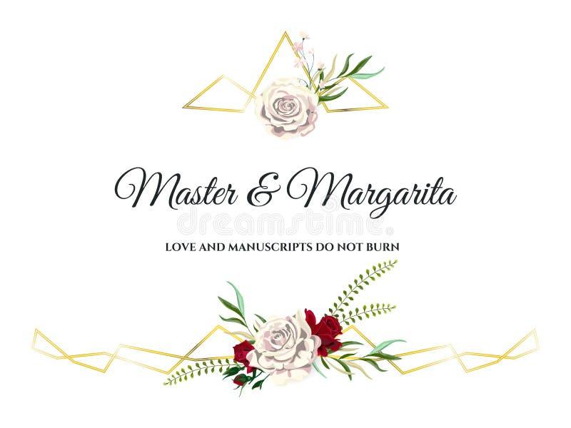 Vector de Uitnodigingskaart van het Rozenhuwelijk voor Ontwerp 01 royalty-vrije stock fotografie