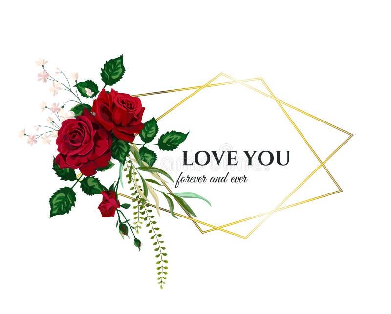 Vector de Uitnodigingskaart van het Rozenhuwelijk voor Ontwerp 01 stock fotografie