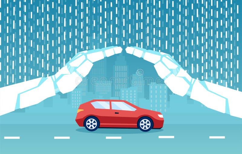 Vector de un auto protegido por inteligencia artificial inteligente, manos robot ilustración del vector