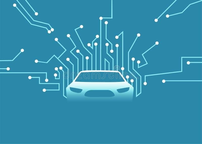 Vector de un coche autónomo futurista stock de ilustración