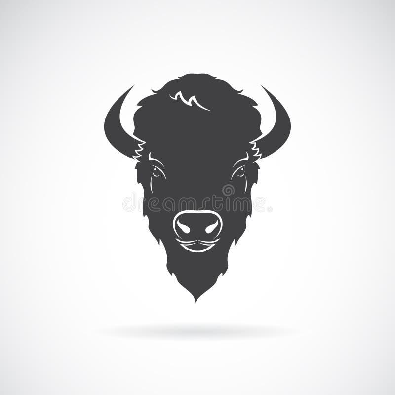 Vector de un diseño de la cabeza del búfalo en el fondo blanco Animal salvaje stock de ilustración