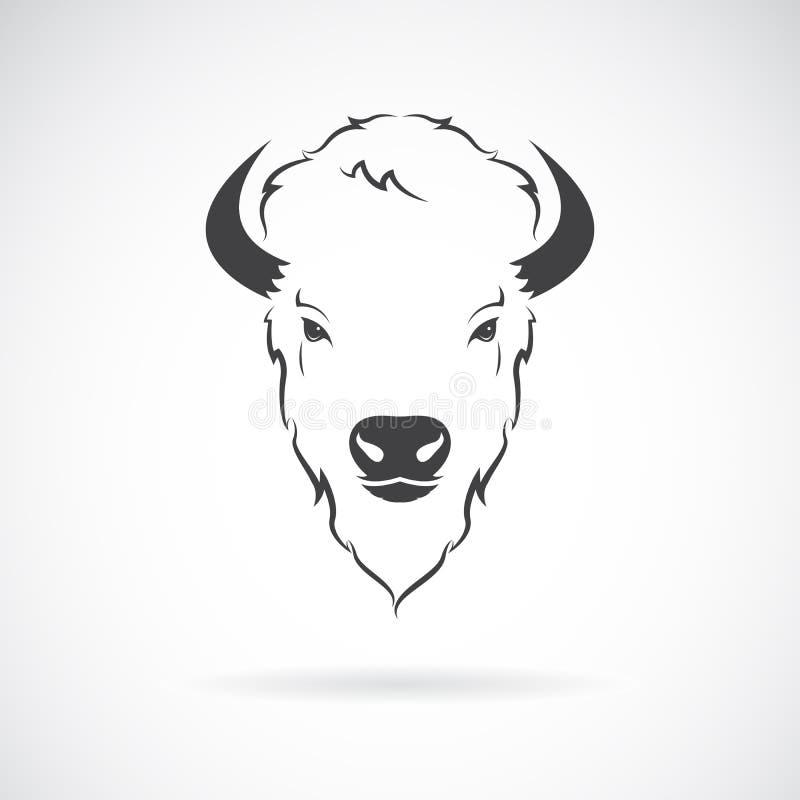 Vector de un diseño de la cabeza del búfalo en el fondo blanco Animal salvaje ilustración del vector