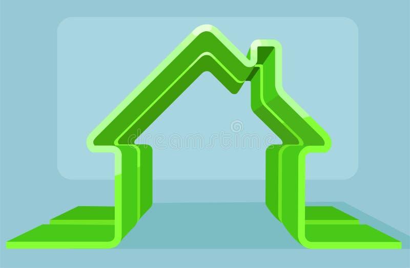 Vector de un esquema de la casa verde ilustración del vector