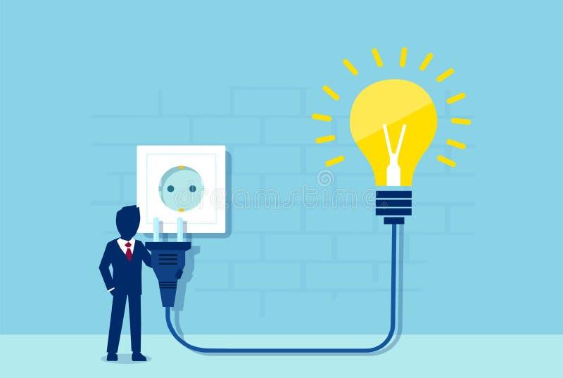 Vector de un hombre de negocios con el cordón eléctrico y la bombilla brillante de la idea que tapan al zócalo de poder ilustración del vector