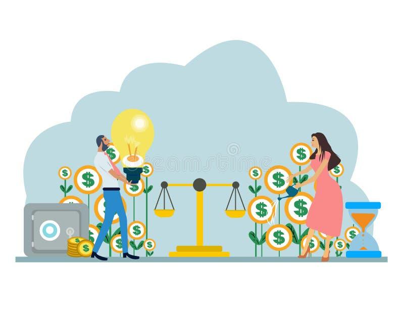 Vector de un hombre de negocios de los pares y de un presupuesto familiar de equilibrio y de finanzas de la empresaria stock de ilustración