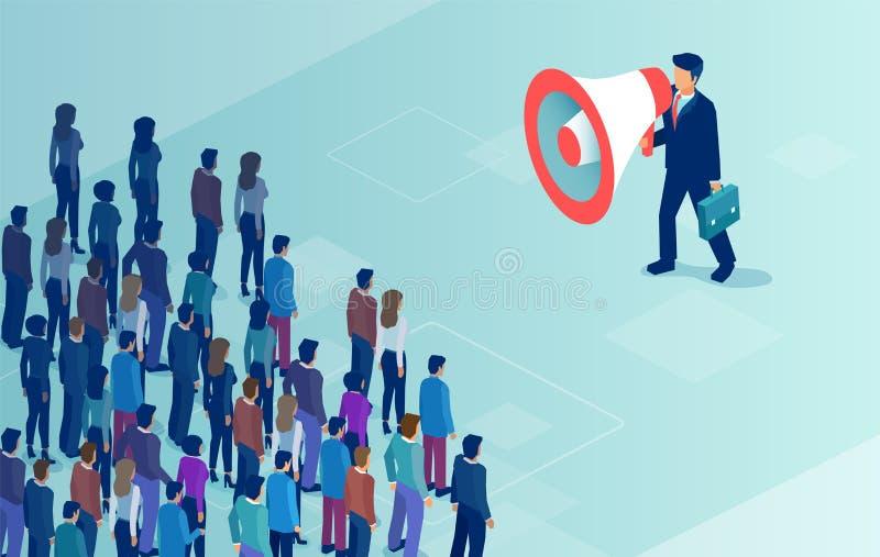 Vector de un hombre de negocios o de un político con el megáfono que hace un aviso a una muchedumbre de gente ilustración del vector