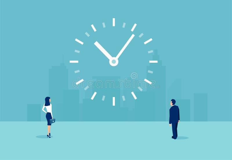 Vector de un hombre de negocios y de una empresaria que miran un reloj en la pared stock de ilustración