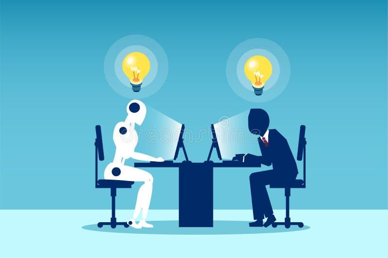 Vector de un hombre que trabaja con un robot que se sienta en la tabla ilustración del vector