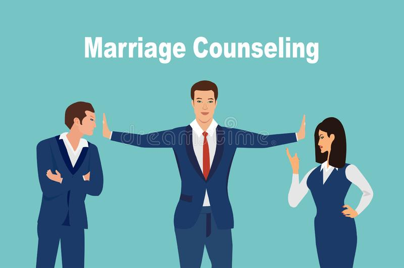 Vector de un hombre y una mujer con mala discusión y siendo moderado por un consejero stock de ilustración