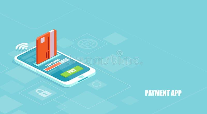 Vector de un pago que es procesado usando una tarjeta de crédito en smartphone vía un app financiero ilustración del vector
