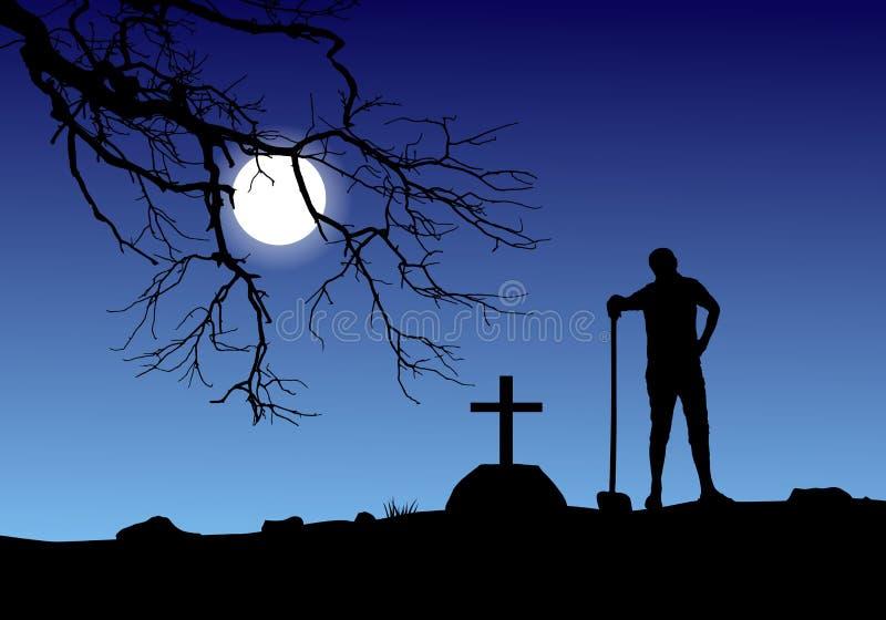 Vector de un sepulcro de excavación del hombre en cementerio en Luna Llena libre illustration