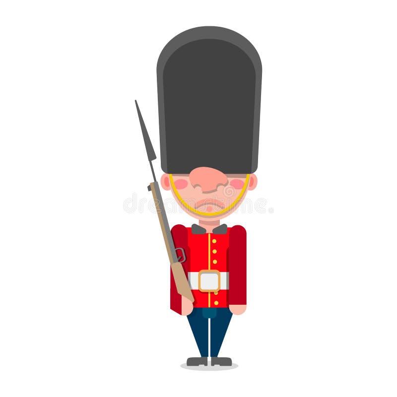 Vector de un soldado de la guardia británico con los soportes de un arma ilustración del vector