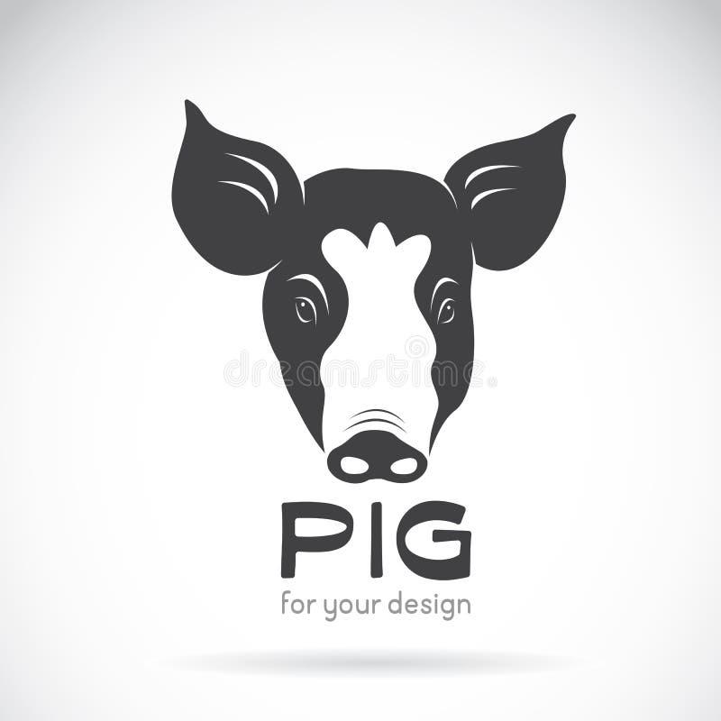 Vector de una cabeza del cerdo en el fondo blanco ilustración del vector
