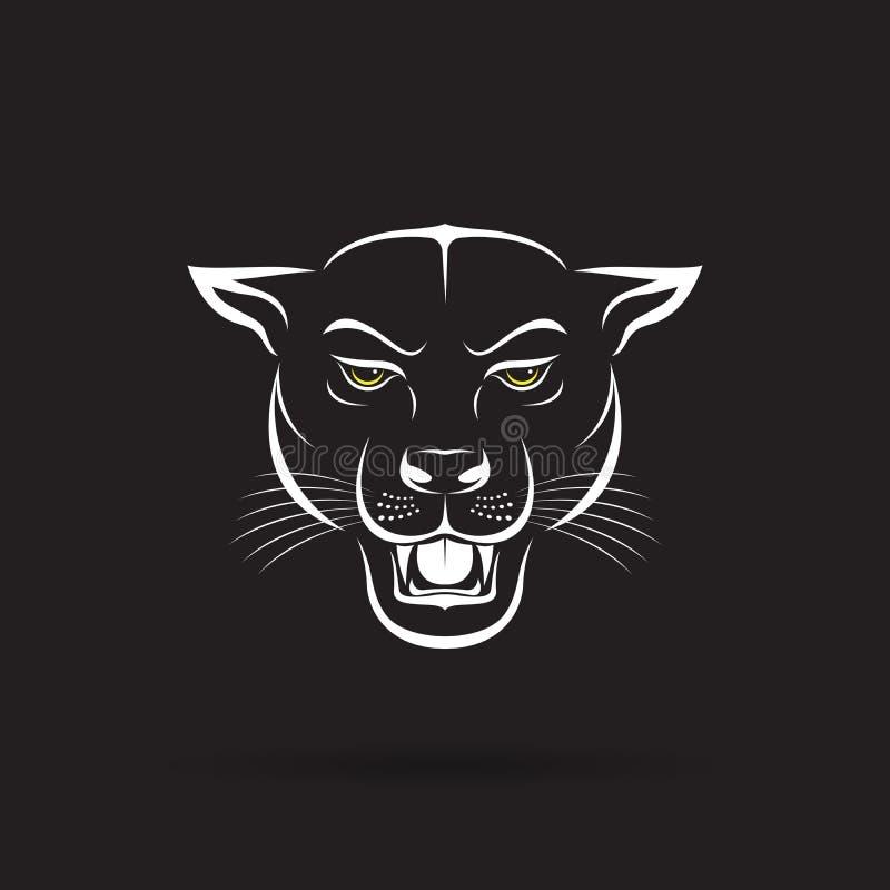 Vector de una cabeza enojada de la pantera en fondo negro Animal salvaje libre illustration