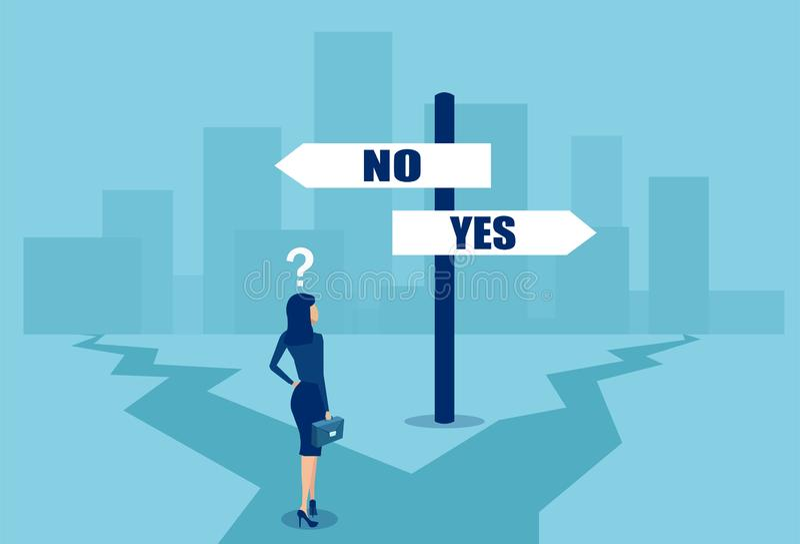 Vector de una empresaria confusa en la posición difícil que toma una decisión en los cruces stock de ilustración