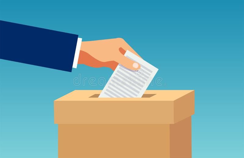 Vector de una mano que inserta en caja una papeleta electoral stock de ilustración