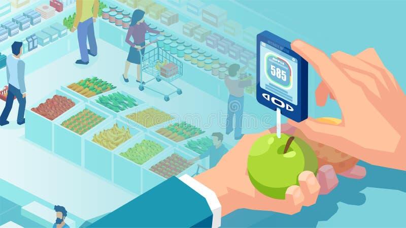 Vector de una mano que sostiene el probador del nitrato en un fondo del supermercado libre illustration