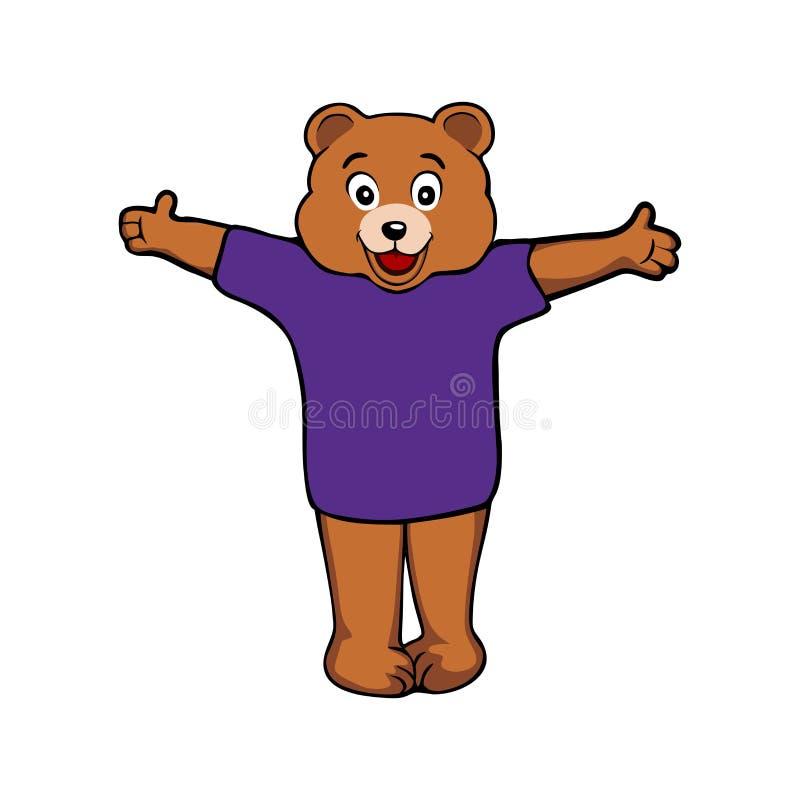 Vector de una mascota del oso de la historieta con los armspaws abiertos ilustración del vector