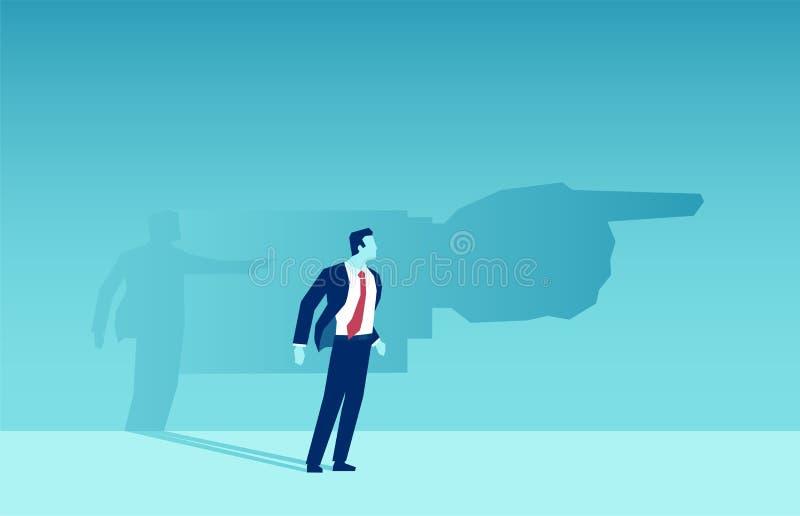 Vector de una sombra del hombre de negocios que lo señala una dirección ilustración del vector