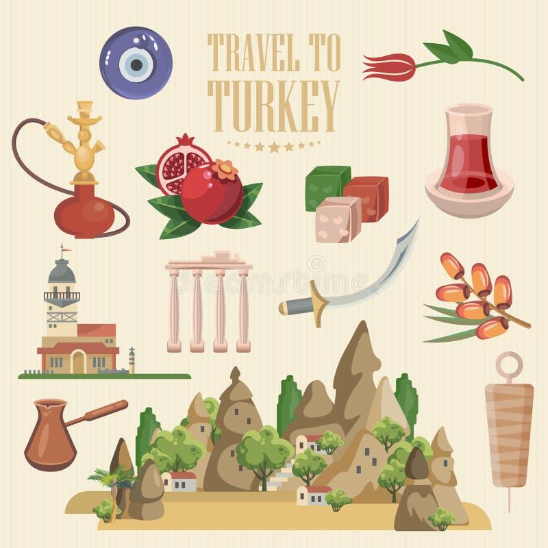 Vector de vakantiesillustratie van Turkije Kleurrijke Reeks Retro ontwerp Onthaal aan Turkije Istanboel stock illustratie