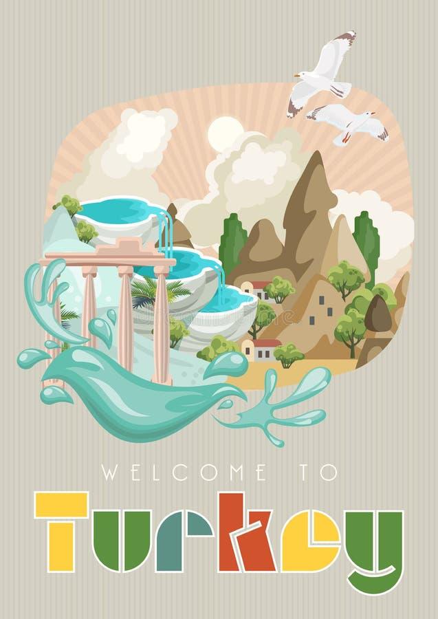 Vector de vakantiesillustratie van Turkije Onthaal aan Turkije Istanboel royalty-vrije illustratie