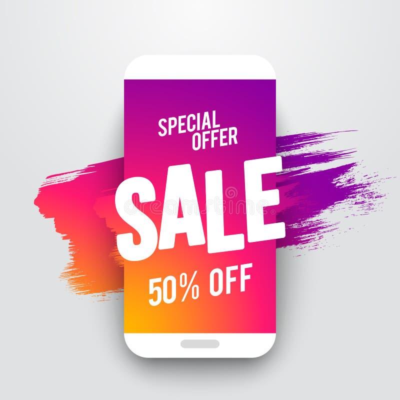 Vector de verkoopbanner van illustratie vlakke smartphone, speciale online aanbieding of kortingsvlieger, verkoop tot 50% weg Met vector illustratie