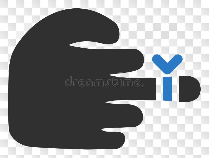 Vector de Verwondingspictogram van de Handvinger op Schaak Transparante Achtergrond vector illustratie