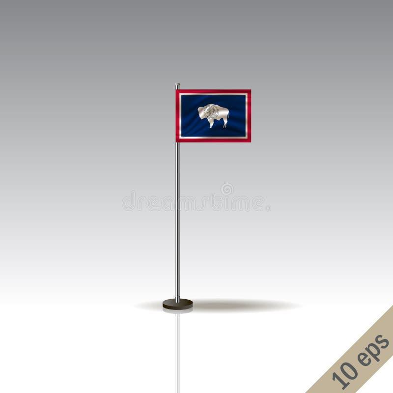 Vector de vlagmalplaatje van Wyoming De golvende vlag van Wyoming op een metaalpool, die op een grijze achtergrond wordt geïsolee stock illustratie