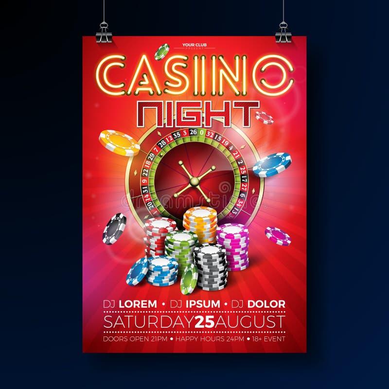Vector de vliegerillustratie van de Casinonacht met roulettewiel en het glanzende neonlicht van letters voorzien op rode achtergr royalty-vrije illustratie