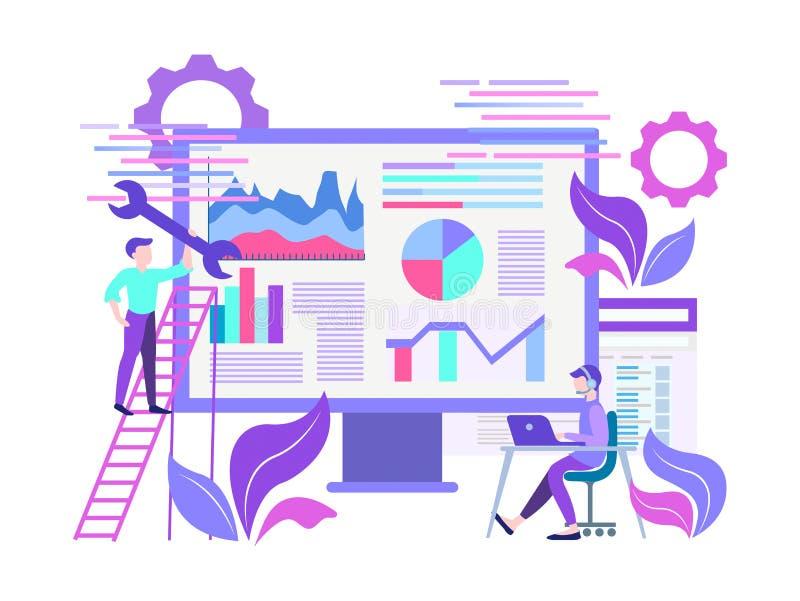 Vector de websiteoptimalisering van het illustratie vlakke concept stock illustratie