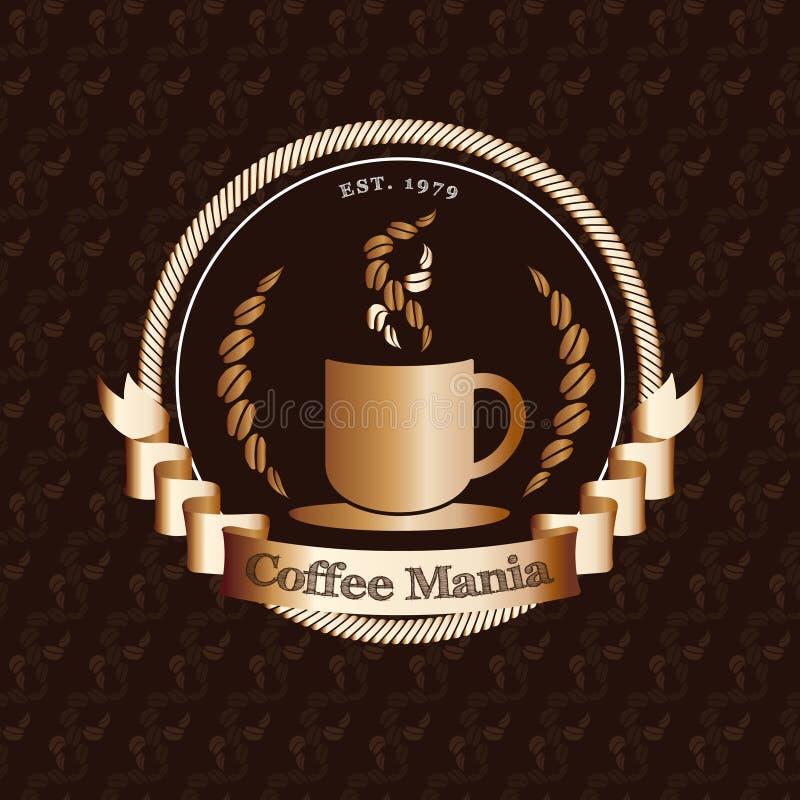 Vector: De winkelembleem van de premiekoffie met gouden kenteken op koffieboon vector illustratie