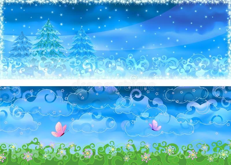 Vector de winter en de zomerbanners stock illustratie