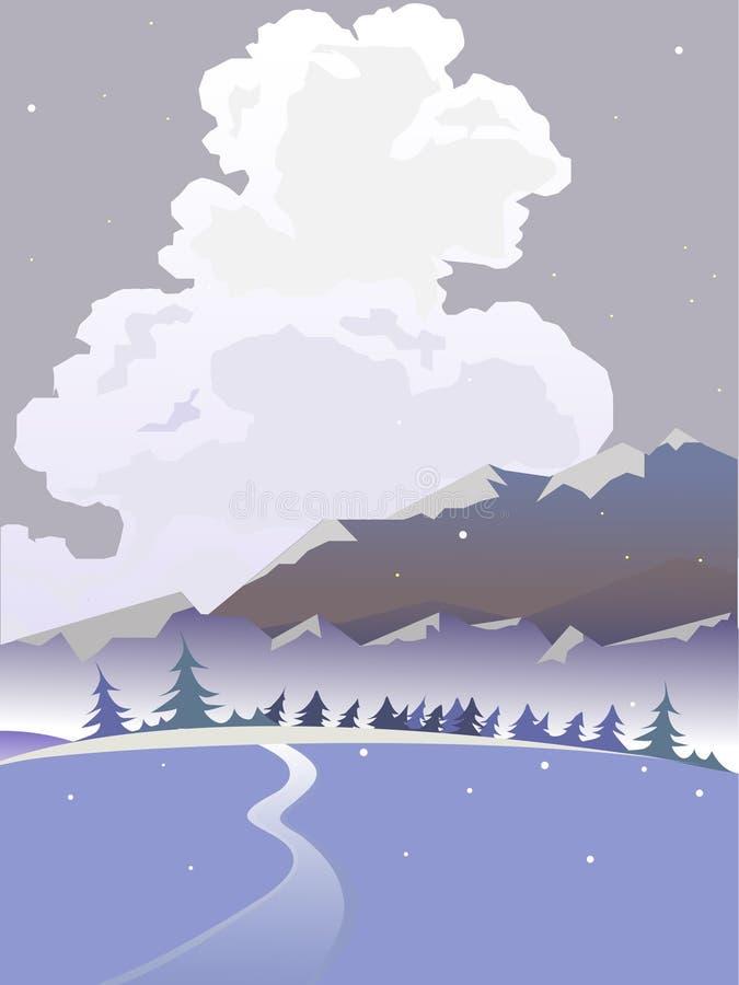Vector de winterlandschap Bewolkt landschap stock illustratie
