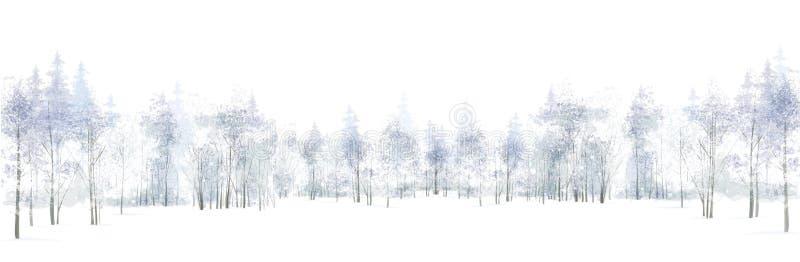 Vector de winterscène met bosdieachtergrond op wit wordt geïsoleerd stock illustratie