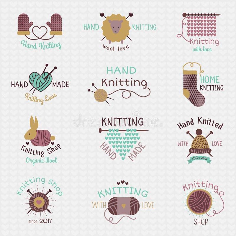 Vector de wolbreigoed van het breinaaldenembleem of gebreide wollen sokken die logotype wollige materialen en het met de hand bre royalty-vrije illustratie