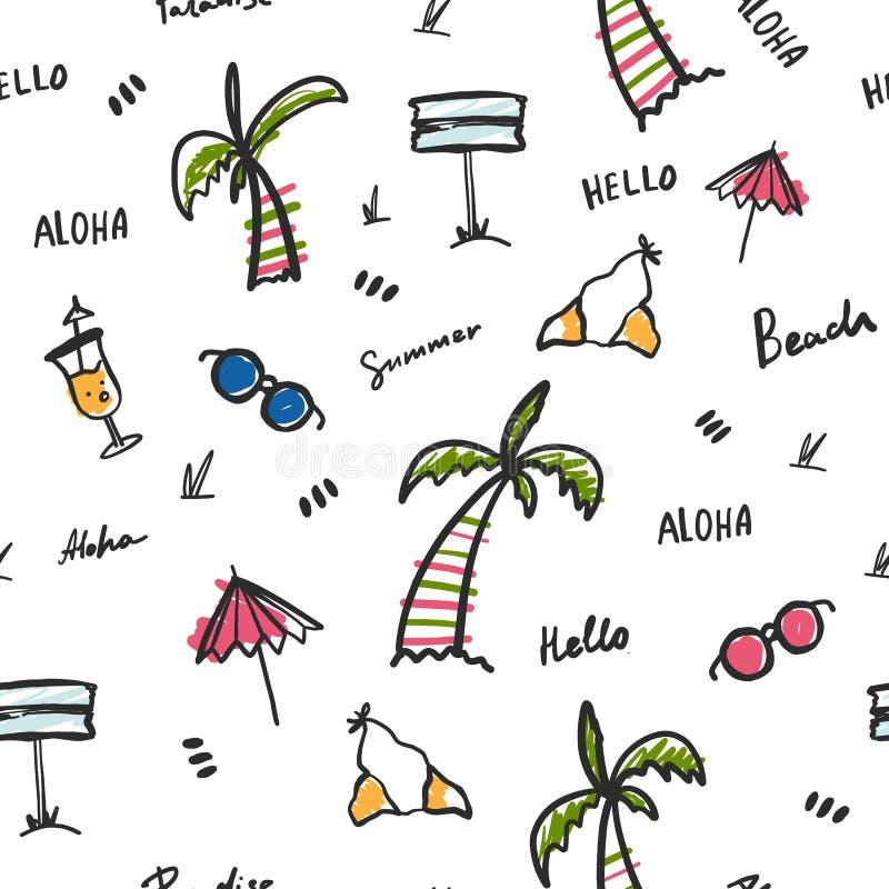 Vector de zomer naadloos patroon Strand textielillustratie Drukbehang met bikini, palm en cocktail royalty-vrije illustratie