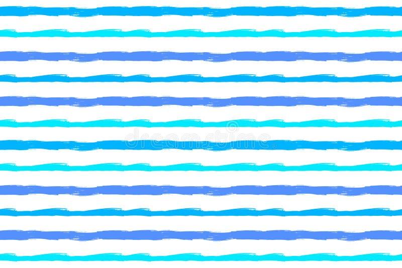 Vector de Zomer Naadloos Patroon, Verfgolven, Turkooise Blauwe Grunge-Strepen stock illustratie