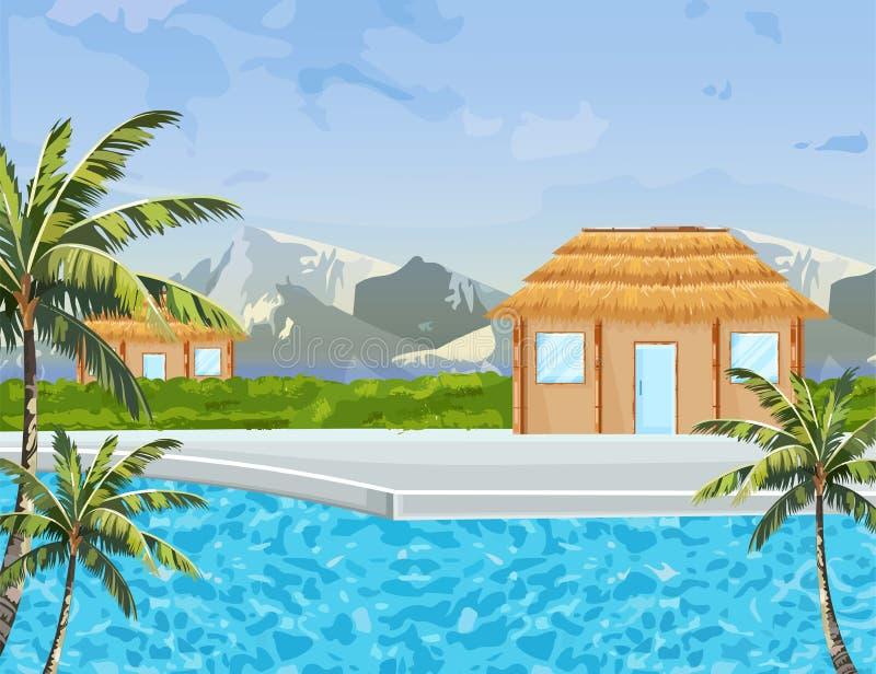 Vector de zomerachtergrond van kusthuizen Tropische paradijs blauwe water en bergen stock illustratie