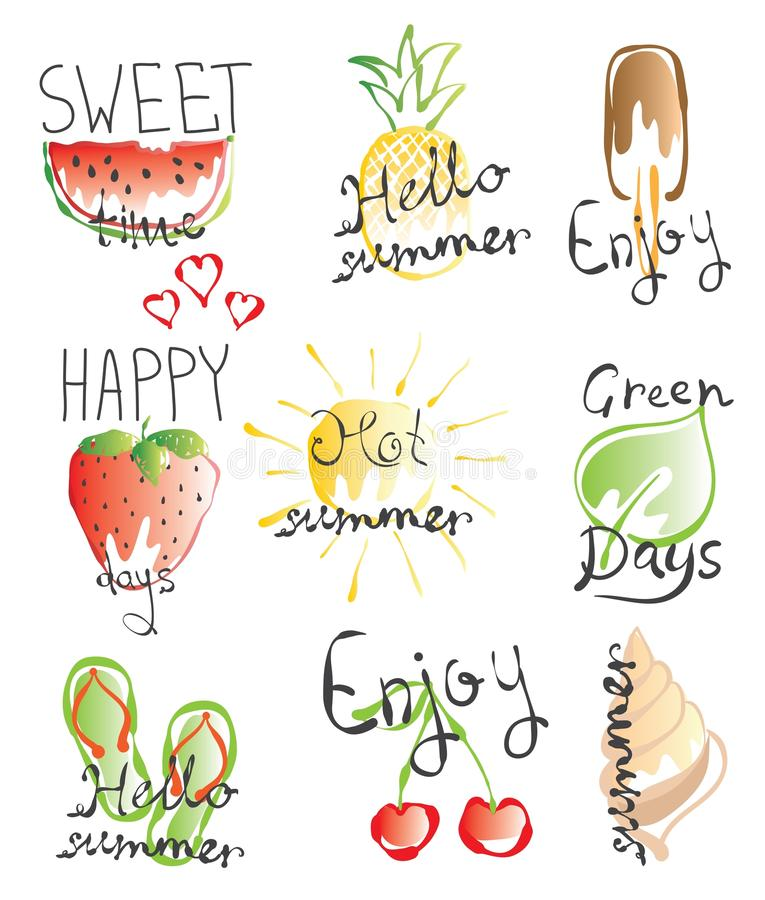 Vector de zomerbeelden stock illustratie