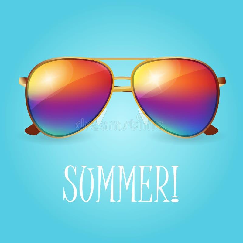 Vector de zomerillustratie van realistische gekleurde zonnebril vector illustratie