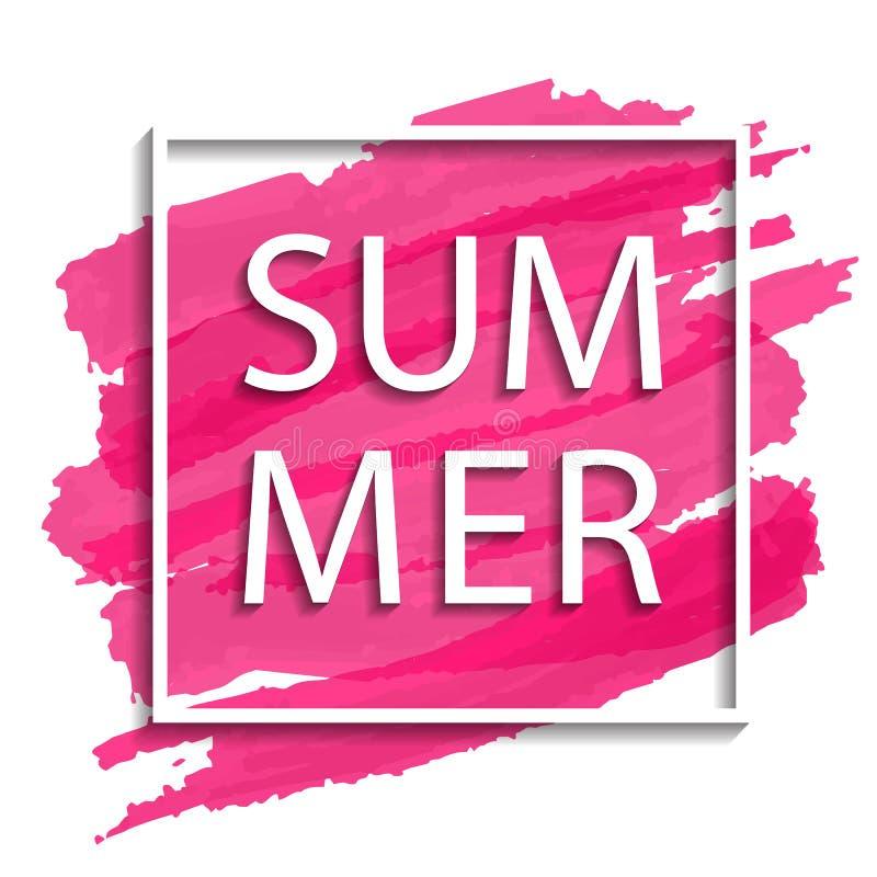 Vector de zomerillustratie van wit kader op roze achtergrond royalty-vrije illustratie