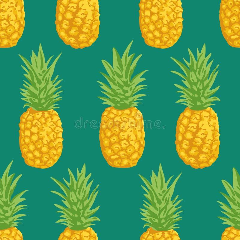 Vector de zomerpatroon met ananassen Naadloos textuurontwerp stock illustratie
