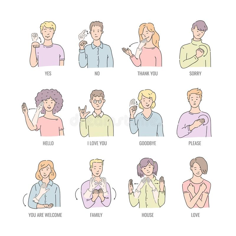 Vector deaf mute sign language character gesture. Vector men, women showing basic deaf-mute sign language symbol. Smiling sketch female, male character and hand royalty free illustration