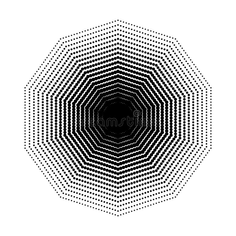 Vector Decagon halftone geometric shapes, seven angles, Dot abstract background. Vector Decagon halftone geometric shapes, Dot design abstract background. The royalty free illustration